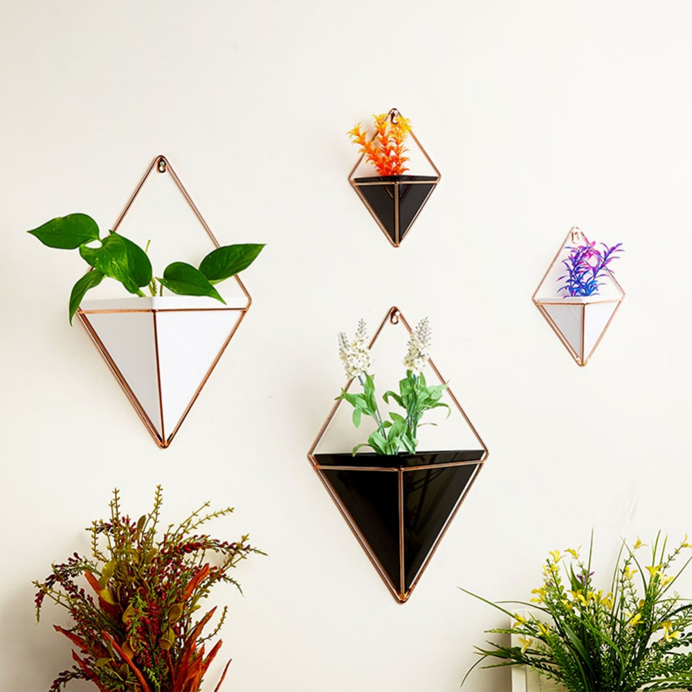 New Hot Acrylic Flower Pot Iron Plant Holders Indoor Hanging Planter Geometric Vase Wall Decor Container Garden Succulent Plants