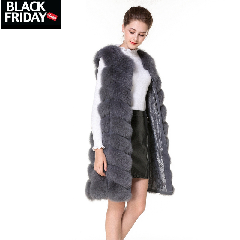 Real Fur Vest and Coats Fox Fur coats women Natural Fox Fur Vest 90CM Womens Real Fox Fur Vest Long Coat