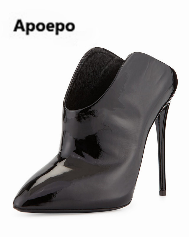 Apoepo women pumps sexy high heels shoes black shallow women shoes pointed toe ankle boots zapatos mujer botas mujer big size apoepo brand 2017 zapatos mujer black and red shoes women peep toe pumps sexy high heels shoes women s platform pumps size 43