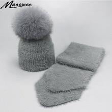 Шапки с помпонами для девочек, шапки, одноцветная норковая кашемировая шапка, шарф, набор женских зимних теплых мягких просторных вязаных черепов, помпон Лисий мех, шапки