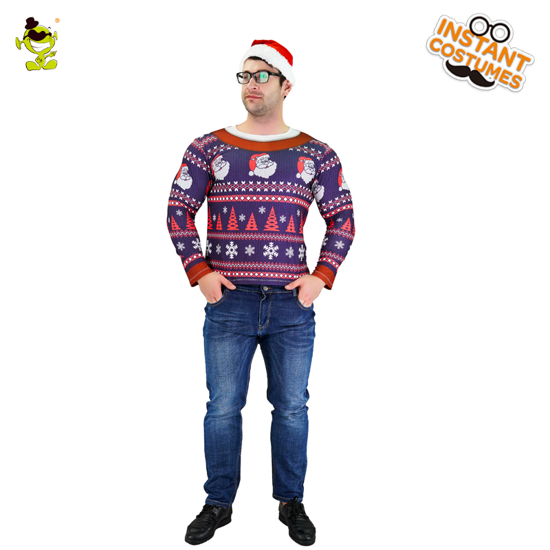 New Mens 3D Digital Printing T-Shirt Merry Xmas Sweater Costume Claus Cosplay Christmas Party Imitation Sweater Costumes