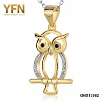YFN 925 Sterling Silver Exquisite Gold Plated Charm Colorful Owl Pendant Necklace Jewelry Birthday Gift For