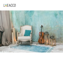 Laeacco Photo Backdrop Old Rural House Cement Wall Armchair Guitar Candle Curtain Baby Interior Background Studio
