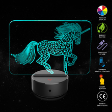New Horse Shape 3D Illusion Lamp 7 Color Change Touch Switch LED Night Light Acrylic Desk Atmosphere Novelty Lighting