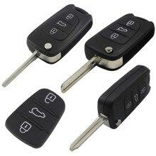 jingyuqin 10ps Remote Car Key Shell for Kia Rio 3 Picanto Ceed Cerato Sportage K2 K3 K5 Soul Hyundai BTN Folding Flip Case
