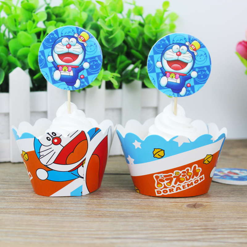 wholesale 360 Set 720 pcs Cartoon Doraemon Paper Cupcake Wrappers Toppers for Kids Birthday Party Decoration Cakecup Toppers