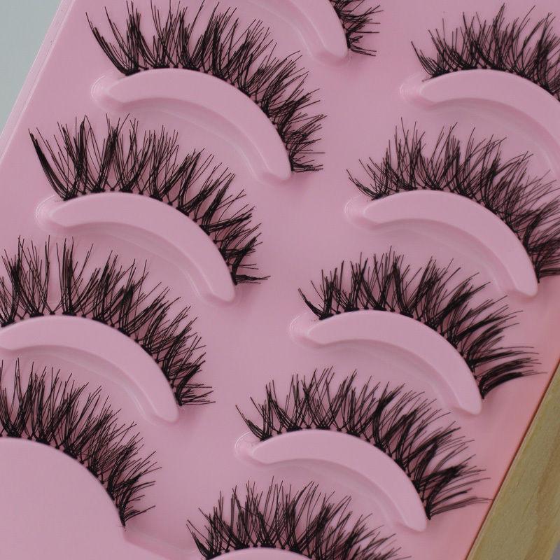 5 Pairs Natural Cross Dense False Eyelashes Man-made Fiber False Eyelashe Lengthened Eye End Hand-made False Eyelashes