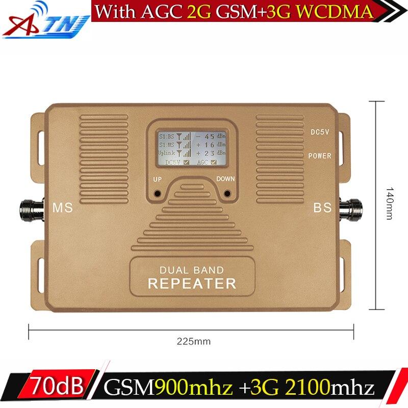 ATNJ GSM 3g Répéteur Dual Band GSM 900 mhz 2100 mhz W-CDMA UMTS Repetidor 3g Antenne Amplificateur de Signal 2g 3g Téléphone portable Booster