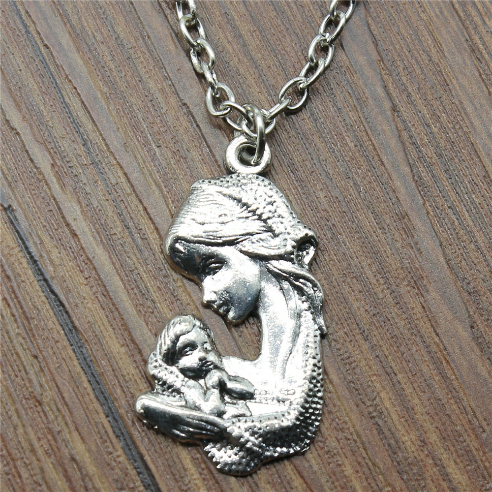 New Fashion Jewelry Simple 37x20mm Mom And Child Pendant Necklace For Women Gift Antique Silver Plated image
