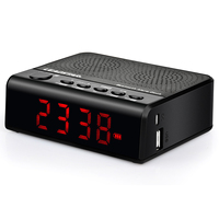 XNCH Digital Alarm Clock Bluetooth Bass Speaker FM Radio Clock Support TF Card U Disk Playback