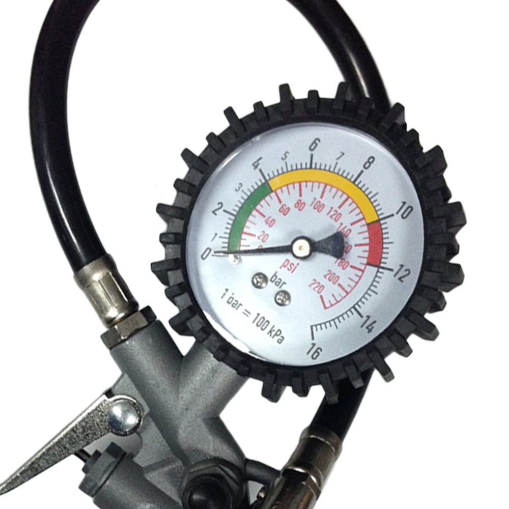 New 2016 Aluminum Alloy+PVC Pipe New Air Tire Inflator With Dial Gauge Auto Truck Bike Compressor Pistol Type