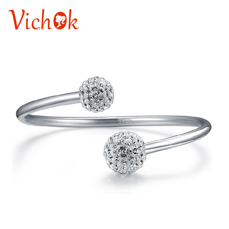 VICHOK 925 Sterling Silver Bracelet Simple Double Beads Open Cuff Bracelets & Bangles For Women Men Fine Luxury Jewelry delicate double layered faux turquoise floral cuff bracelet for women