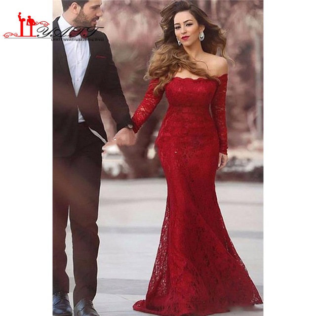 66154ab3f US $129.0 |Elegant Off Shoulder Full Lace Prom Dresses 2017 Fall With Long  Sleeves Illusion Plus Size Evening Gowns Arabic Party Dress-in Prom Dresses  ...