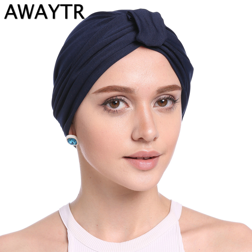 AWAYTR Autumn Winter New Arrival Women Headband Tie Bandanas Muslim Headwear Dual-use Hat Fashion Cap Muslim Headwrap