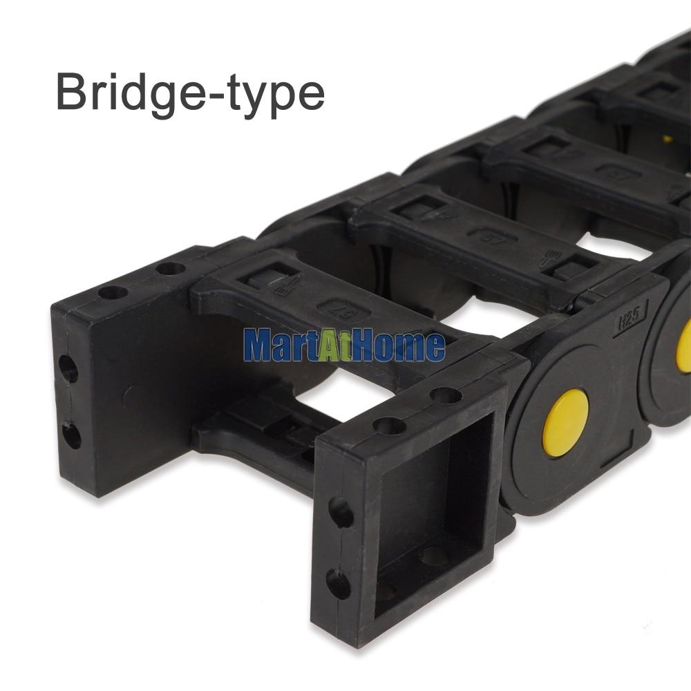 Купить с кэшбэком ARGEDO Black Plastic Enhanced 1M Length 25x38/50/57/77mm Full-Closed/Bridge-type Drag Chain Cable Carrier for CNC Machine