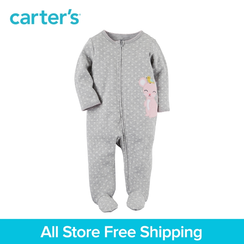 Carters 1-Piece baby children kids clothing Girl Spring & Fall Cotton Zip-Up Sleep & Play 115G400