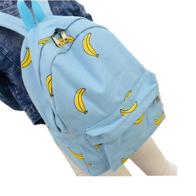 Mochila feminina Cute Girl Padrão de Banana Impressão Mochilas Viajar Prático Mochila Saco de Lona de Moda Exclusivo w542