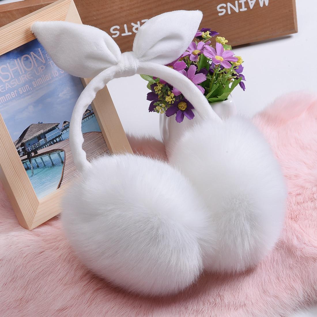 Women Lovely Rabbit Fur Winter Warmers Comfort Earmuffs