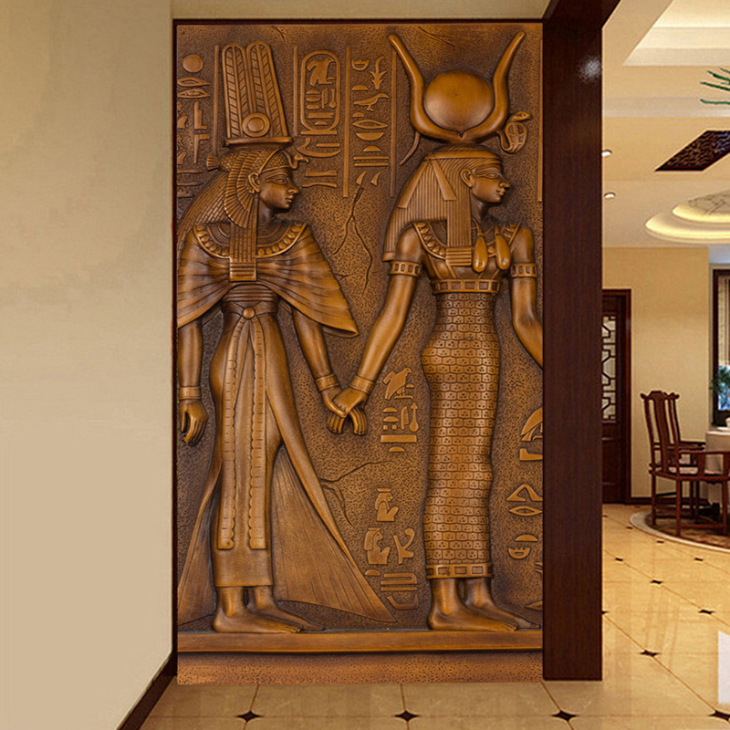 European Style Vintage Egyptian King Queen Sculpture 3D Embossed Photo Mural Wallpaper Hotel Hall Living Room Entrance Wallpaper