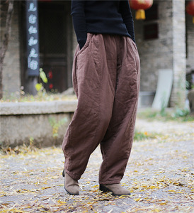 Image 1 - YoYiKamomo 2018 Winter Women Loose Pants Thick Warm Cotton Padded Harem Pants Solid Color Elastic Color Big Size Women Trousers