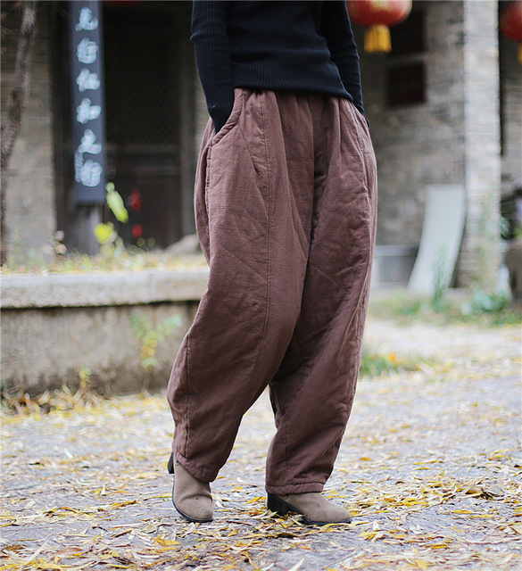 YoYiKamomo 2018 Winter Women Loose Pants Thick Warm Cotton Padded Harem Pants Solid Color Elastic Color Big Size Women Trousers