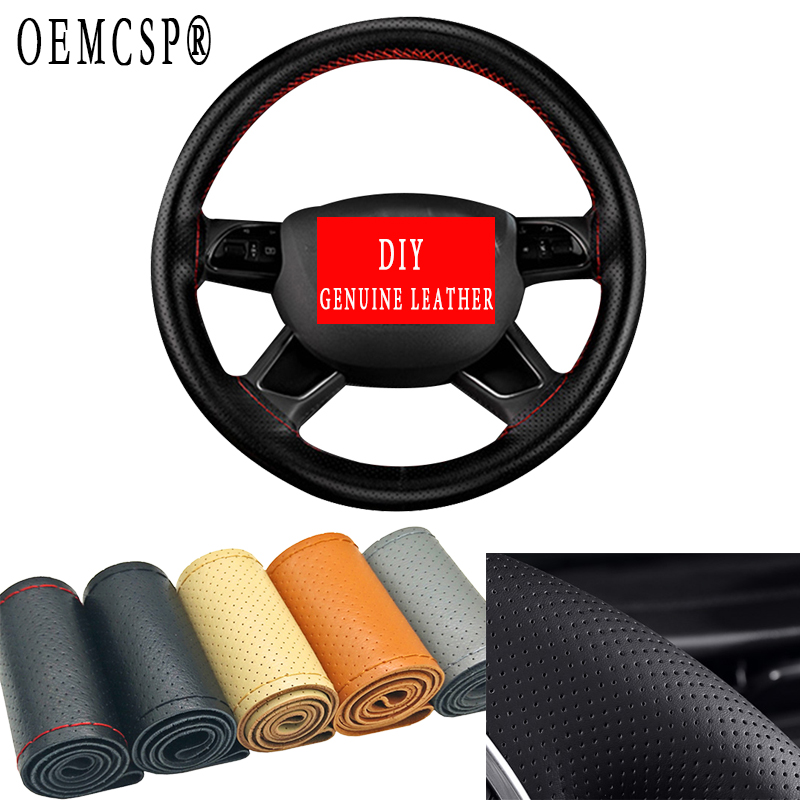 Car Truck Steering Wheel Cover Cowhide 38cm Leather DIY Hand Sewing Gift