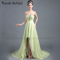 Sexy Sage Chiffon Asymmetrical Prom Dresses 2016 Red Carpet Celebrity Dresses Sweetheart Evening Gowns Formal Party Dress SD299