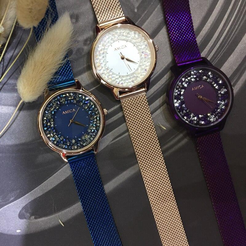 AMICA 2019 nouveau élégant élégant Flash diamant lisse miroir montre à Quartz en acier étanche montre femmes montre dames montre