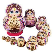 10pcs Wooden Russian Hand Painted Nesting Dolls Babushka Matryoshka Gift -17  YJS Dropship