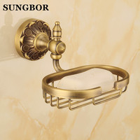 Style Brass Antique Wall Mounted Bathroom Soap Holder Shower Soap Dish Holder Shower Tray Home Decoration Bathroom Accessories