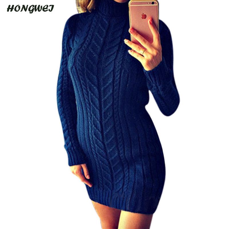 9816934b645 ... Autumn 2018 Winter Warm Sweater Dress Women Sexy Slim Fit Bodycon Dress  Female Turtleneck Long Sleeve ...