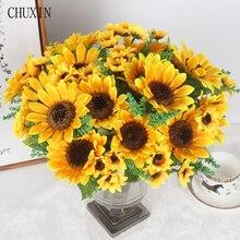 Decoración de otoño, 13 cabezas, girasol amarillo, ramo de flores artificiales de seda para decoración del hogar, oficina, fiesta, jardín