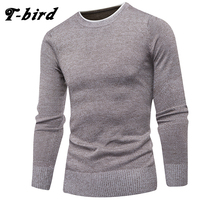 T Bird Brand Clothing Men 2017 Fashion Sweater Simple Solid Color O Neck Slim Fit Casual