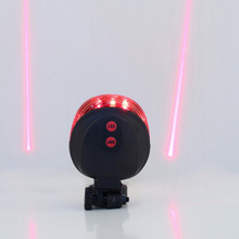 Cycling Bike MTB Bicycle 2 Laser Beam 5 LED Rear Lamp Tail Light Safety Flashing Light Include Battery