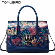 TOMUBIRD new Superior cowhide leather Painting embossed famous brand women bag fashion genuine leather handbags Tote shoulder