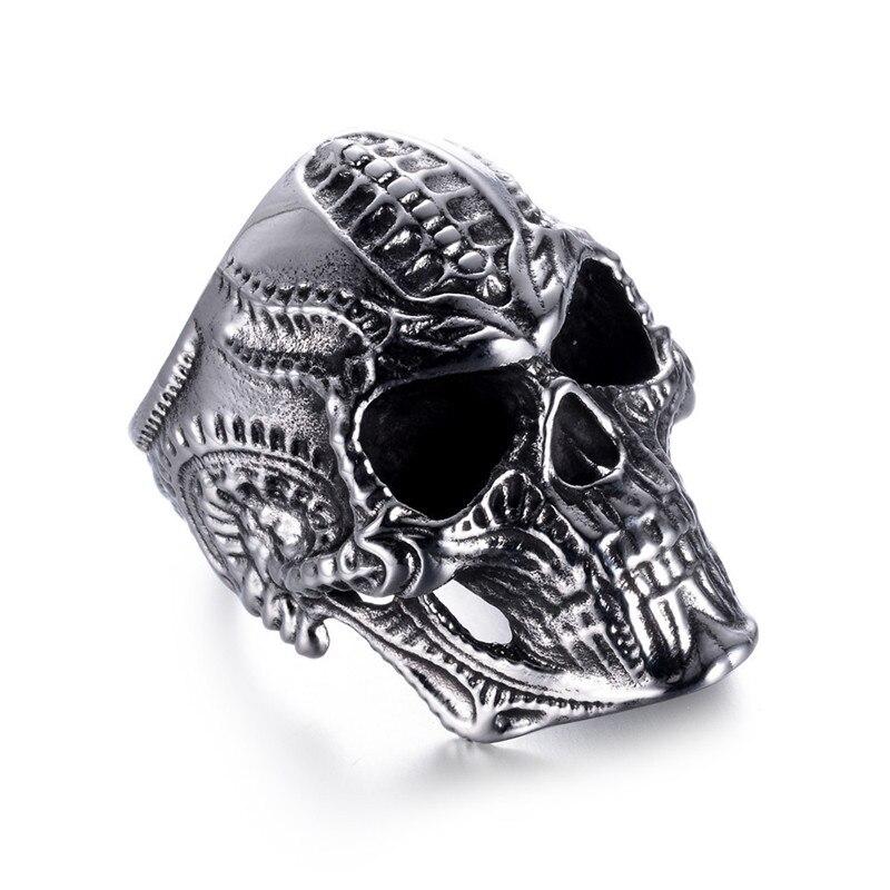 Para Hombre Alien Calavera Anillos Acero Inoxidable Cabeza De Hueso Anillo Punk Gótico Negro Biker