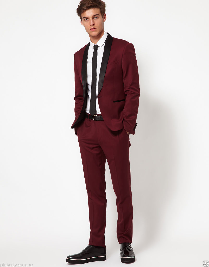 Custom Made Wine red Men Suit Tailor Made Suit Bespoke Men Wedding ...