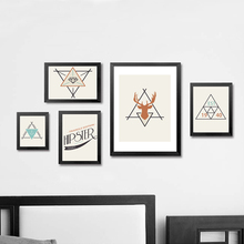 Modern Paintings Geometric Triangles Printable Art Wall Pictures Canvas Poster Cuadros Oil Painting Decor No Frame
