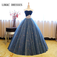 Top Velvet Blue Quinceanera Dresses Sweetheart Beaded Sweet 16 Ball Gowns Prom Dresses Vestidos De 15 Anos