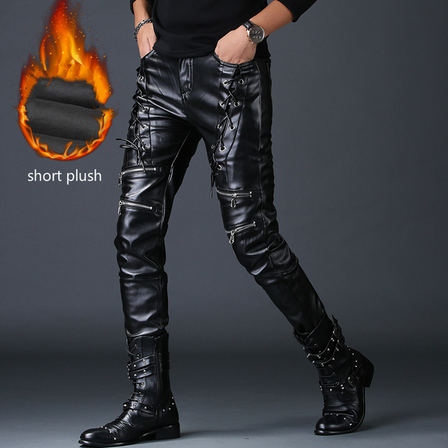 men personality fake zippers design skinny faux leather pants youth rock nightclub motorcycle clothing autumn winter trousers 2
