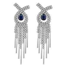 New Trendy Blue Cubic Zirconia Drop Earrings For Women Classical Long Tassel  Earrings Jewelry Pendientes Mujer Anniversary Gift