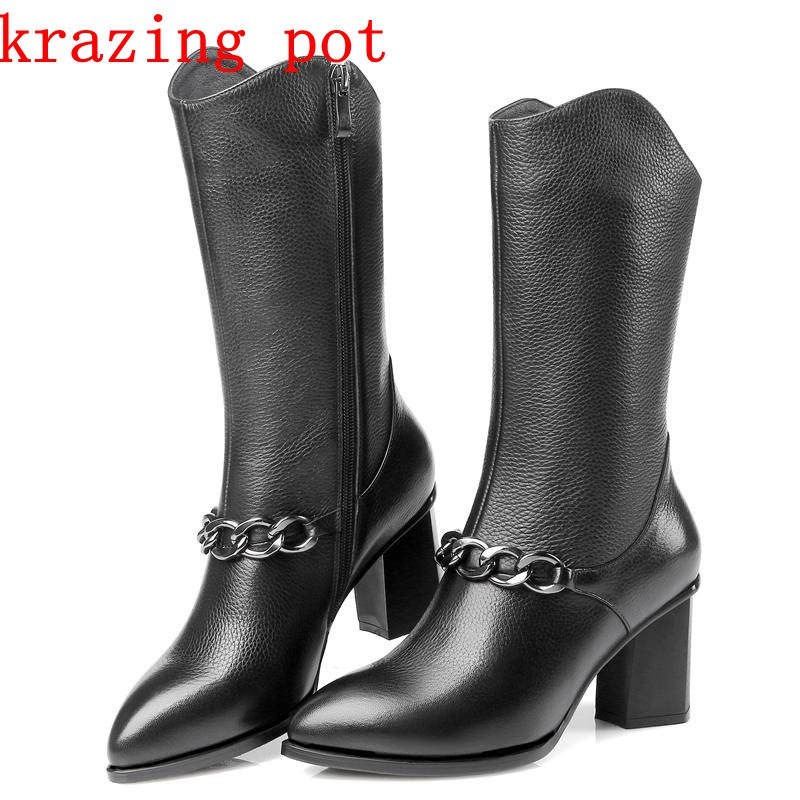 Krazing pot new Full grain leather pointed toe high heels keep warm metal chains winter boots European design mid-calf boots L09 popular high quality full grain leather mid calf boots size 40 41 42 43 44 solid zipper design round toe boots