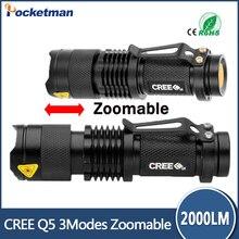CREE Q5 flashlight Lanterna de led High Power Torch 2000 lumen Zoomable Mini LED Flashlight tatica light lantern bike light