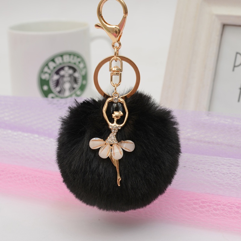 Felyskep Fashion Ballerina Girl Fluffy Imitated Rabbit Fur Ball Keychain for Women Bag Acessory A692WA