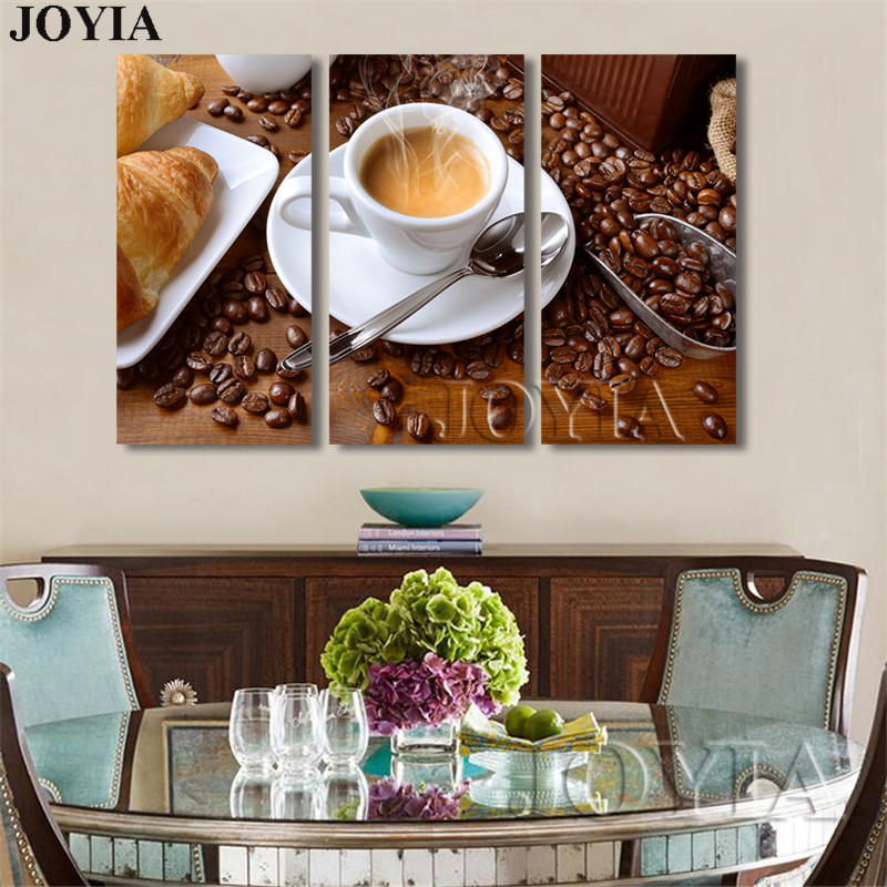Us 5 83 40 Off 3 Piece Canvas Wall Art Fragrant Cafe Bread Pictures Modern Paintings Coffee Beans Print For Home Kitchen Decor No Frame In