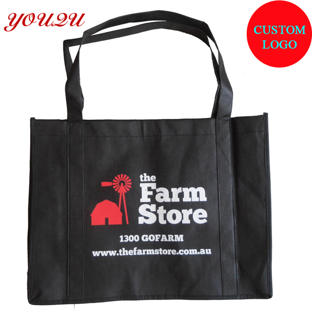 Handle Sewing To Bottom Logo Printing Non Woven Tote Bag Promotional With