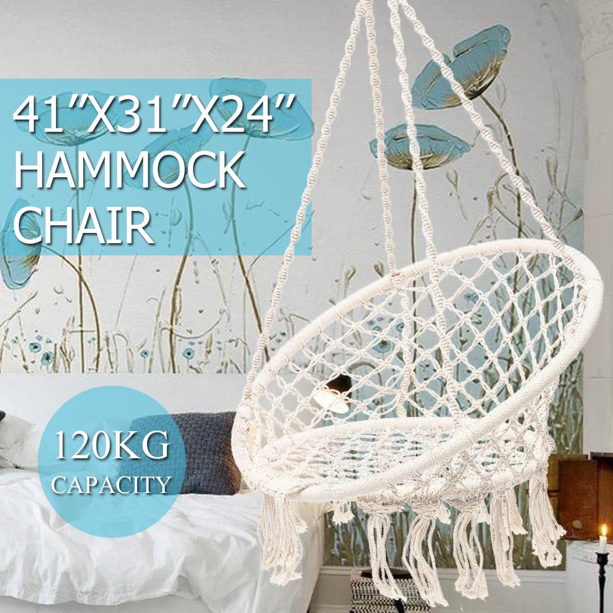 Outdoor Indoor Round Hammocks Chair Nordic Hammock Dormitory Bedroom Swinging Hanging Chair Single Safety Garden Hammock White modern hammocks outdoor hammock chair