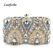 Цвет шампанского синий кристалл вечерние сумки для женщин ежедневные клатчи модные свадебные Кошелек бриллианты сумка для ужина партии