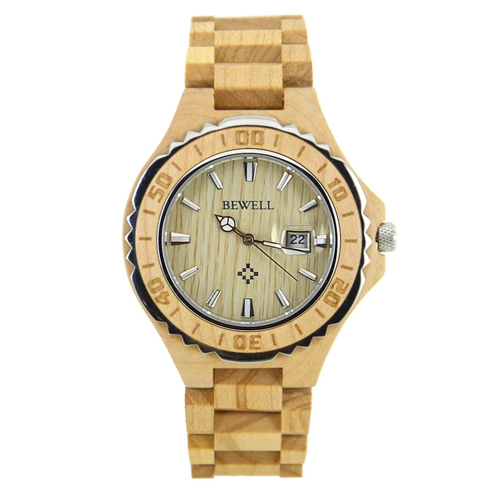 BEWELL Men Elegant Lovers Style Wooden Quartz Watch with Luminous Pointer Birthday Festival Gift Ornament (with Gift Box)