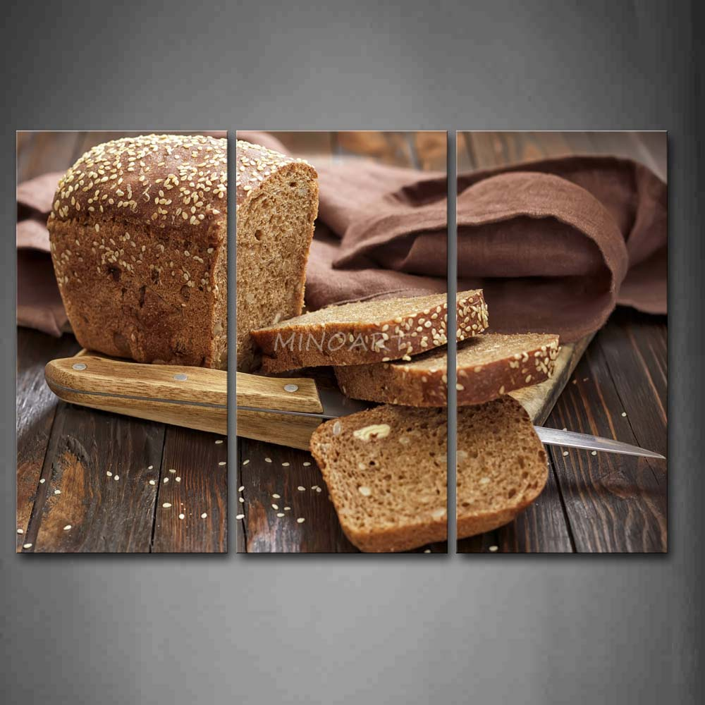 3 Piece Brown Wall Art Painting Bread With font b Knife b font And Board Picture